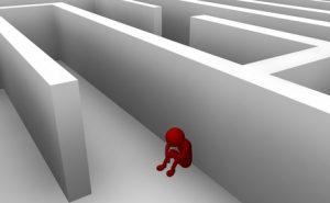 man in maze suffering from anxiety setback