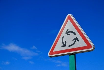 cycle of anxiety on a road sign