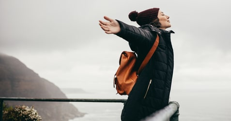 Woman celebrating being free of anxiety