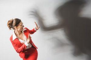 Woman fearing fear