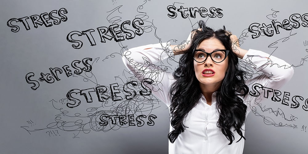Woman all stressed