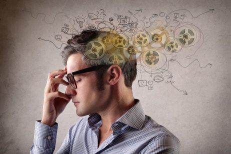 Man thinking negative thoughts