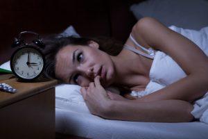 Woman awake in the night